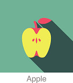Apple slice food and drink flat icon series