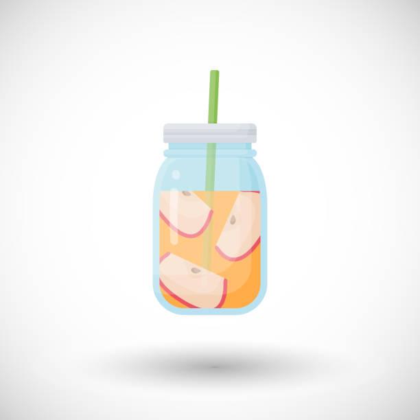 Apfel Smoothie Vektor flache icon – Vektorgrafik