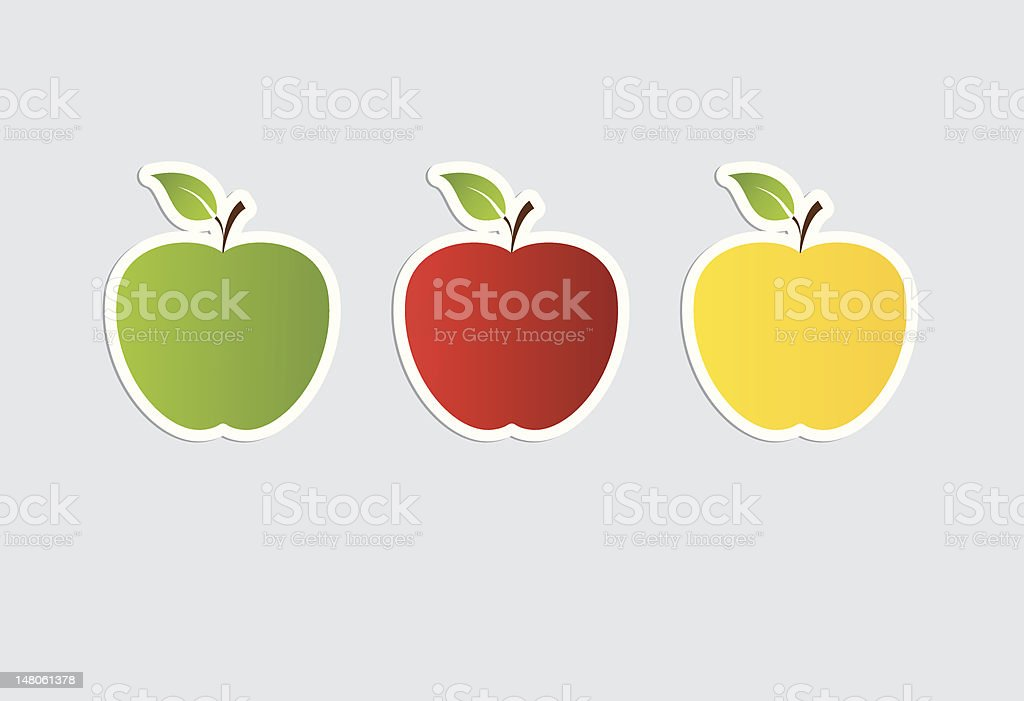 apple sticker collection vector art illustration