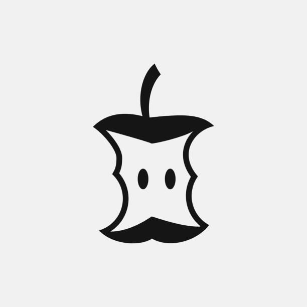 ilustraciones, imágenes clip art, dibujos animados e iconos de stock de ilustración de icono de trozo de manzana - leftovers
