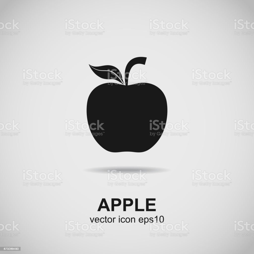 Apple Symbol Fruit Silhouette Black Icon Vector Stock Vector Art