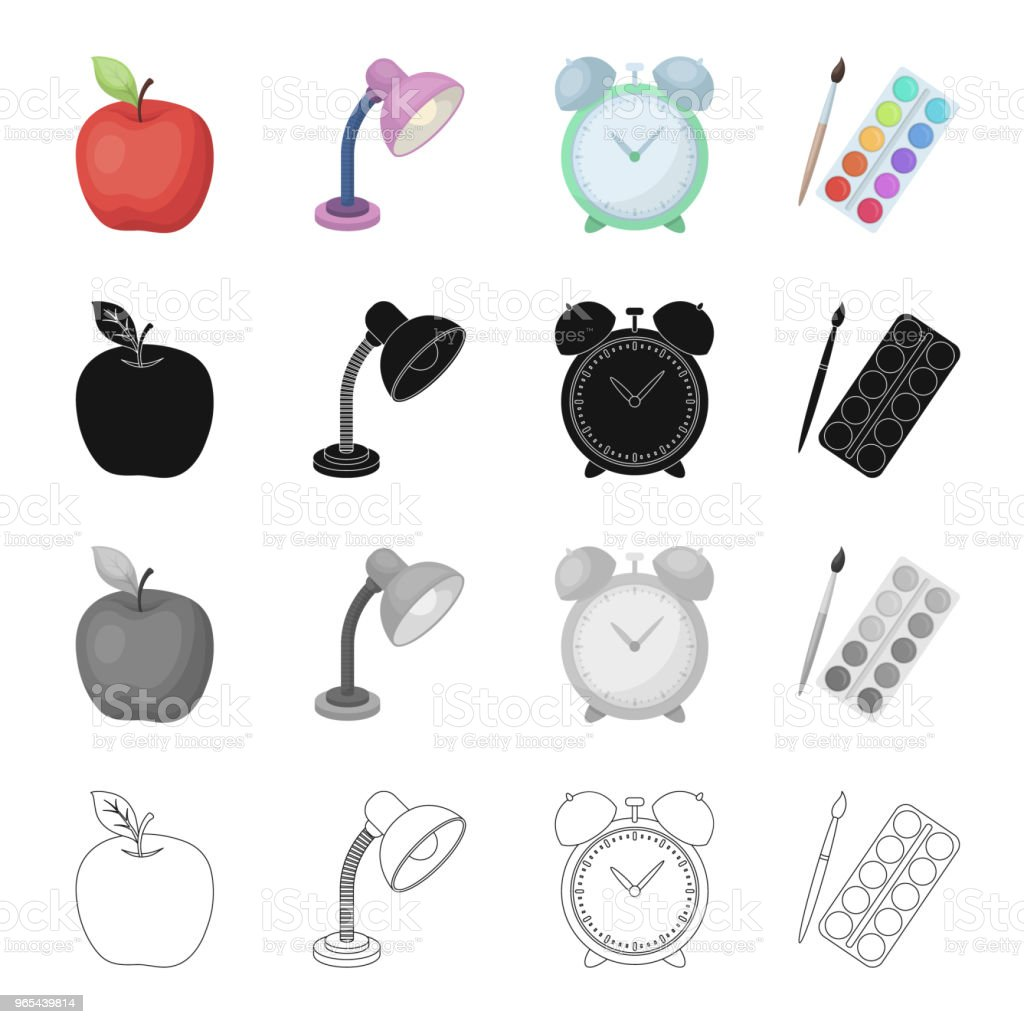 Apple, table lamp, clock alarm clock, school supplies paint and brush. School and learning set collection icons in cartoon black monochrome outline style vector symbol stock isometric illustration web. apple table lamp clock alarm clock school supplies paint and brush school and learning set collection icons in cartoon black monochrome outline style vector symbol stock isometric illustration web - stockowe grafiki wektorowe i więcej obrazów biurko royalty-free