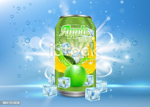 Apple tonic aluminum can packaging mock up. Vector realistic illustration of aluminium can with label of soft drink with ice cubes, bubbles. 3d apple tonic poster, banner, flyer design template.