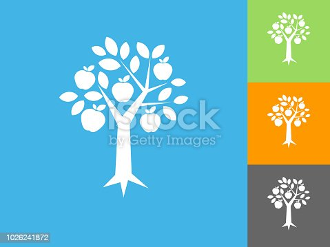 Apple Tree  Flat Icon on Blue Background. The icon is depicted on Blue Background. There are three more background color variations included in this file. The icon is rendered in white color and the background is blue.