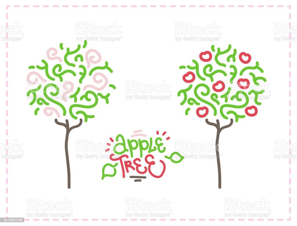 Ilustración de vector gráfico de manzano - ilustración de arte vectorial