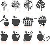 Apple Tree Growing and organic farming Black & white Set