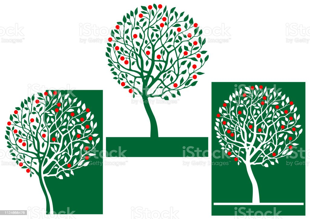 Apple Tree Illustration Sign Stock Vector Art & More Images of Apple