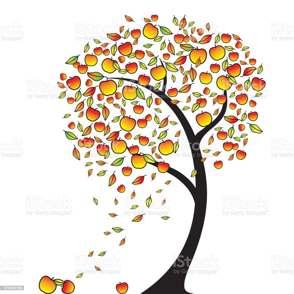 Apple Tree In Autumn Leaves Fly Around The Wind Apples Falling Vector