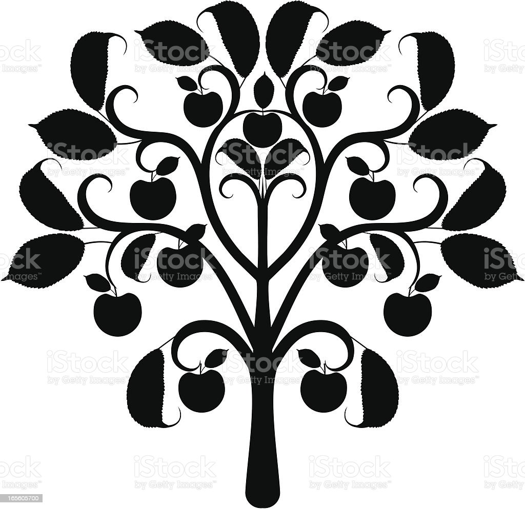 apple tree silhouette royalty free stock vector art