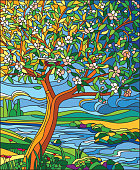 Vector illustration of the blossomed apple tree with a nest and dove in stained glass style.