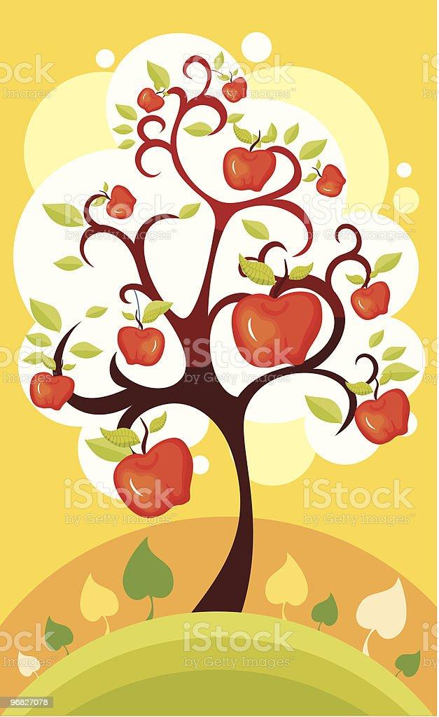 apple tree vector art illustration