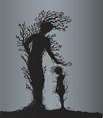 two apple trees young and old look like woman and kid or mother and child, plant surrealism,  fairy tree silhouettes, big and small tree soul at night, vector.