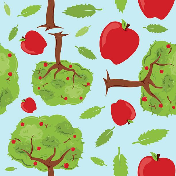 Apple Trees Seamless Pattern vector art illustration
