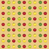 Seamless vector pattern of a variety of apples
