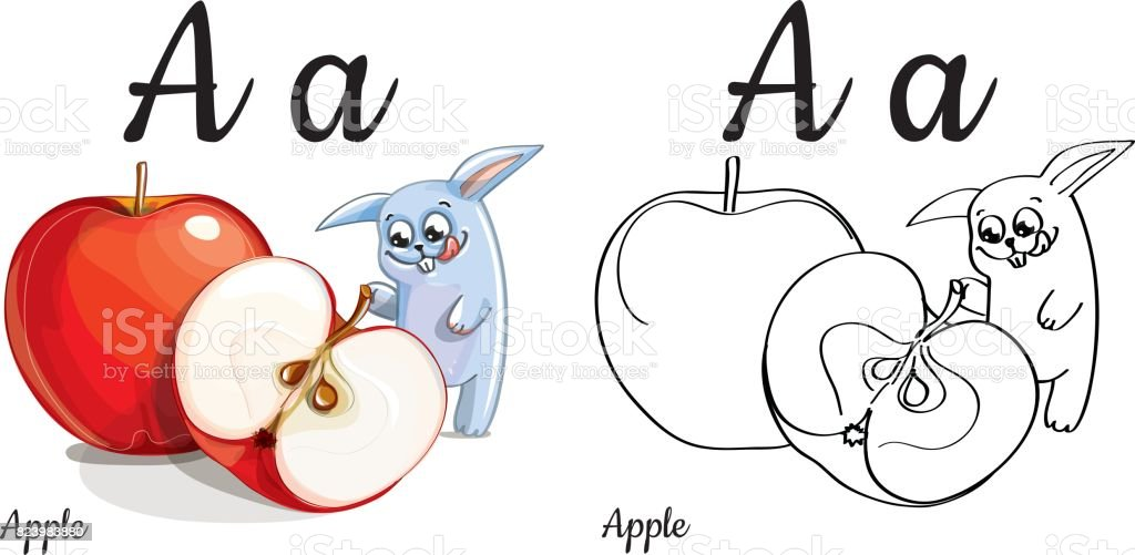 Apple Vector Alphabet Letter A Coloring Page Stock Vector Art More