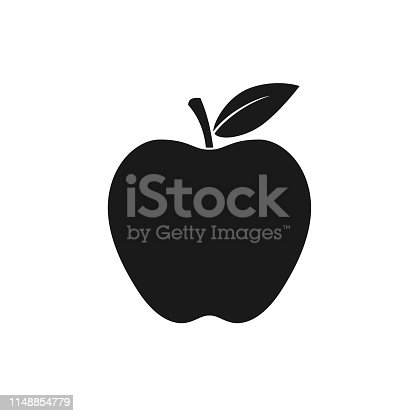 Apple icon. Isolated black sign on white background. Symbol apple with leaf. Vector illustration