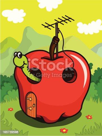 Cartoon apple and worm. Vector illustation.