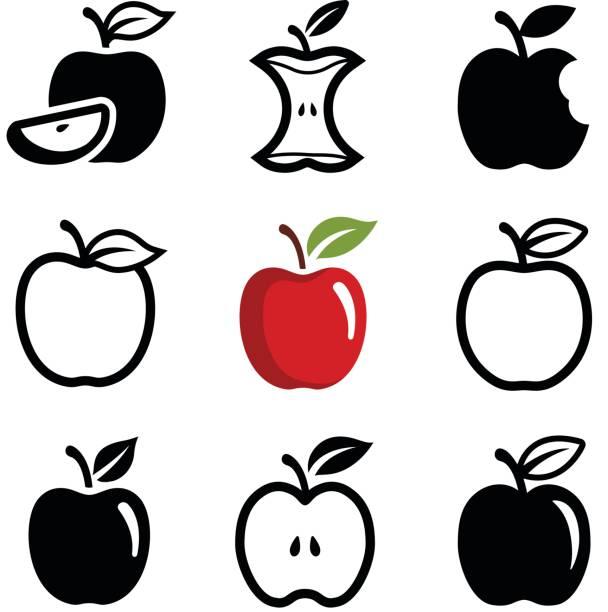 illustrazioni stock, clip art, cartoni animati e icone di tendenza di apple - mela
