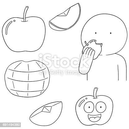 vector set of apple