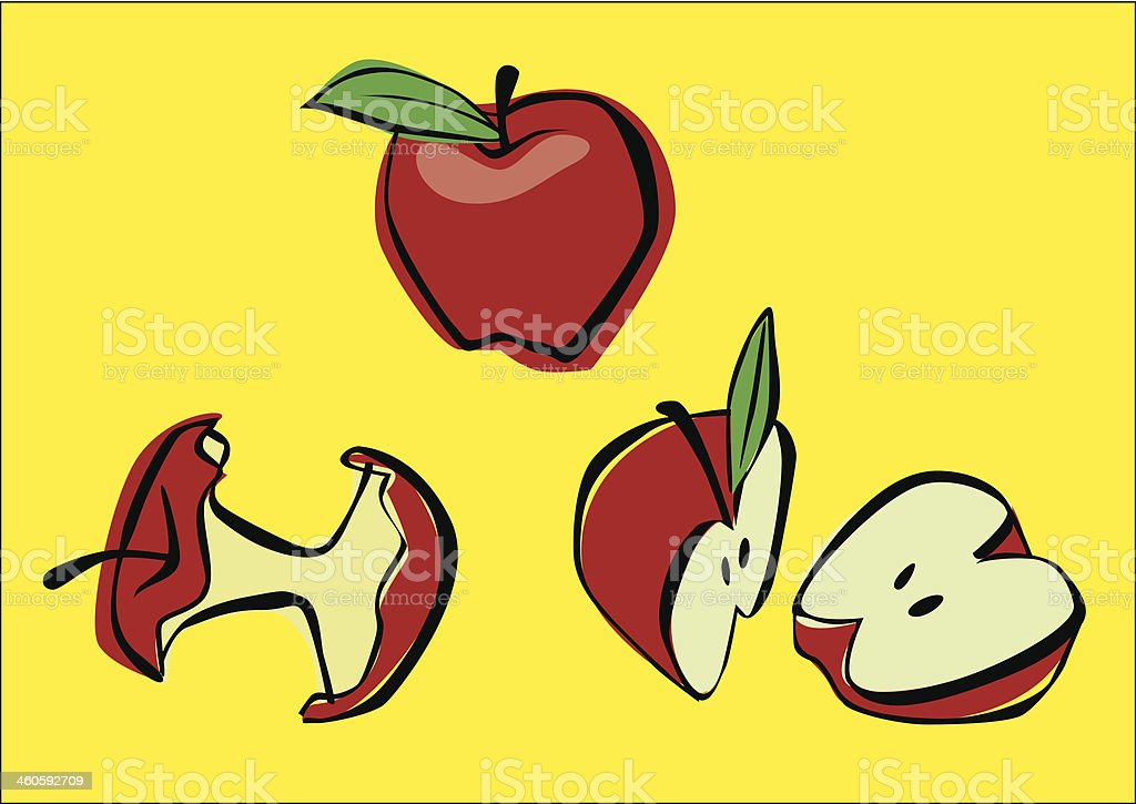 Apple. Whole, halved and bite royalty-free stock vector art