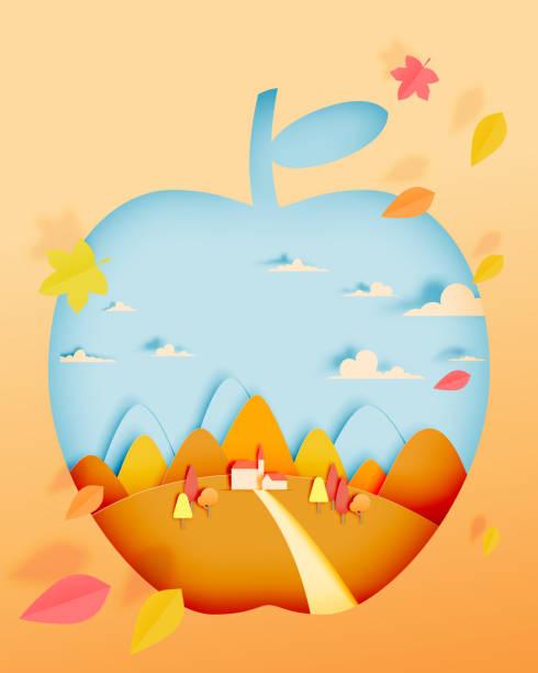 illustrazioni stock, clip art, cartoni animati e icone di tendenza di apple with autumn leaves and beautiful landscape in paper art style and pastel background - raccogliere frutta