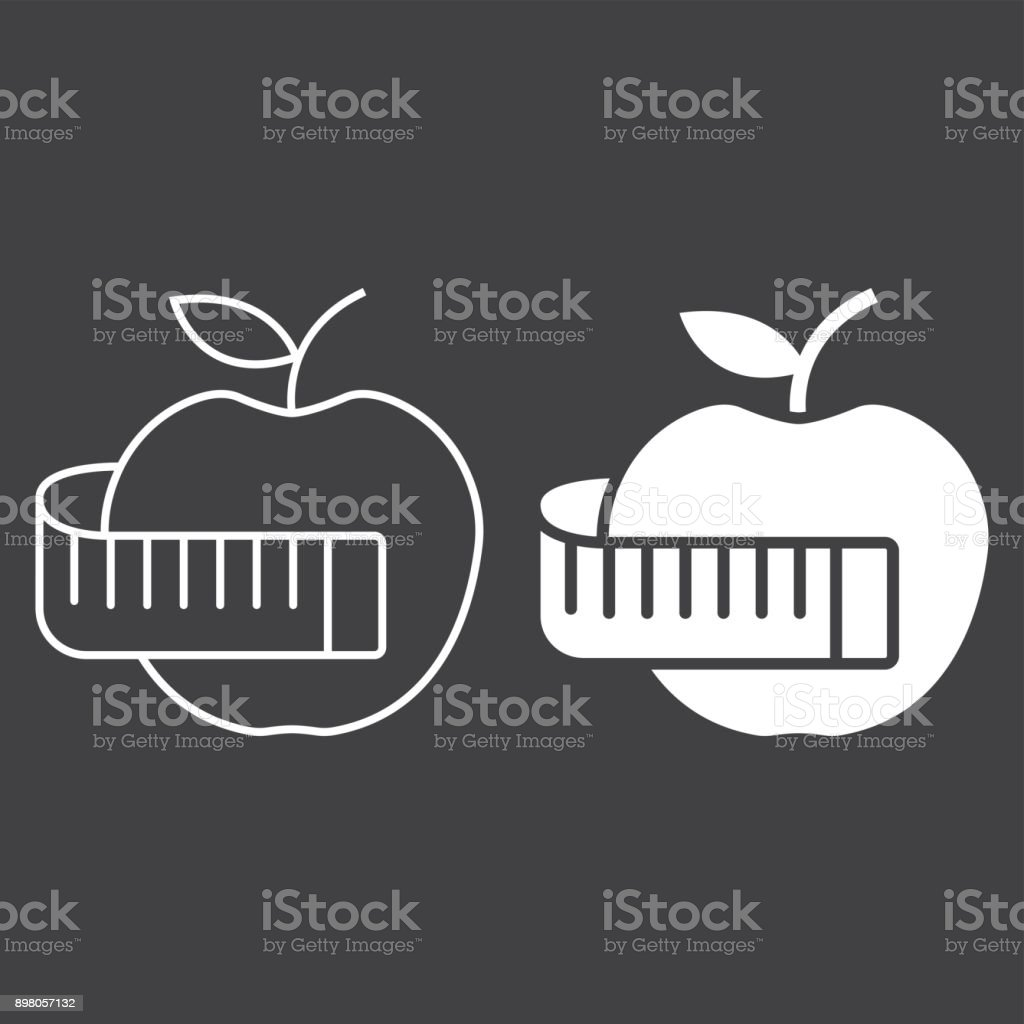 Apple with measuring tape line and glyph icon, fitness and sport, diet sign vector graphics, a linear pattern on a black background, eps 10. vector art illustration