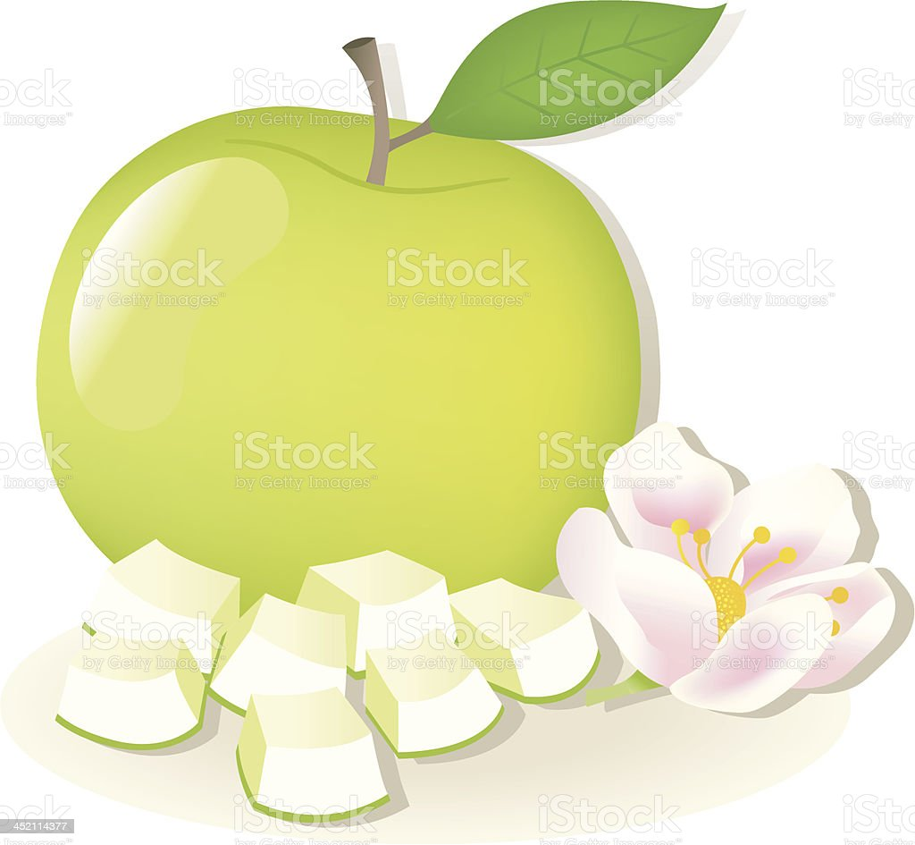 Apple with Pieces and Flower. royalty-free stock vector art