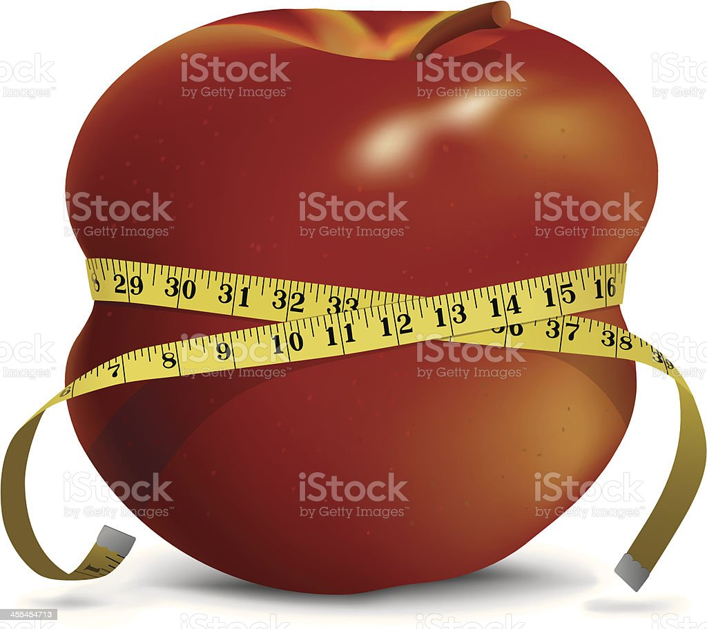 Apple with Skinny Waistline and Tape Measure royalty-free stock vector art