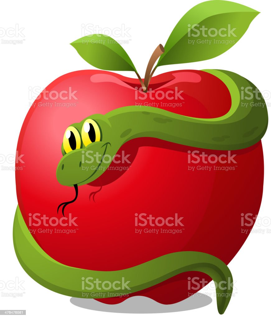 Apple with Snake Evil Temptation royalty-free apple with snake evil temptation stock vector art & more images of adam - biblical figure