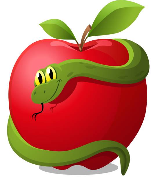 Apple with Snake Evil Temptation vector art illustration