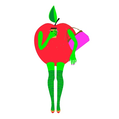 Apple woman drinking coffee or tea to go. Vector illustration.