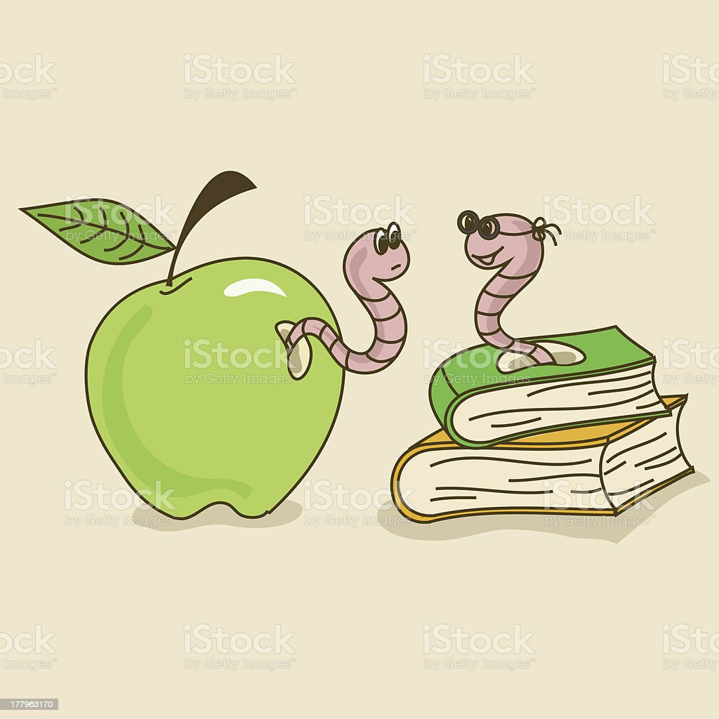 Apple worm and bookworm royalty-free stock vector art