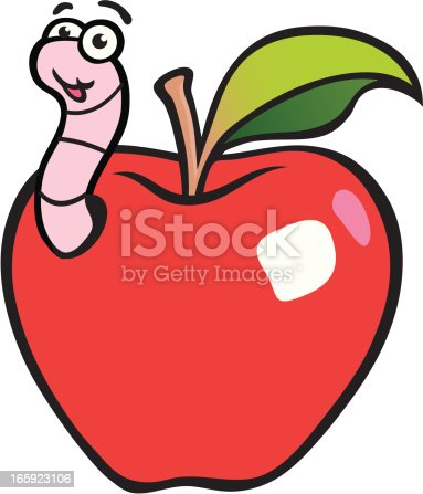 An apple is looking delicious and a worm has taken a bite out of it. Please check out my other images :)