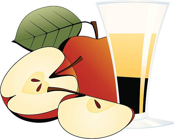 Äpfel und einem Glas Apfelsaft – Vektorgrafik