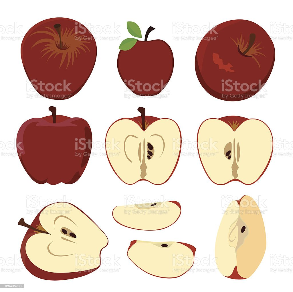apples and apple cut fruit set royalty-free stock vector art
