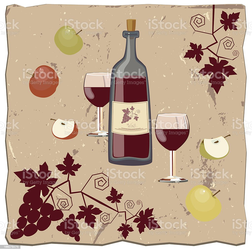 Apples, Bottle Of Wine and Vine royalty-free stock vector art