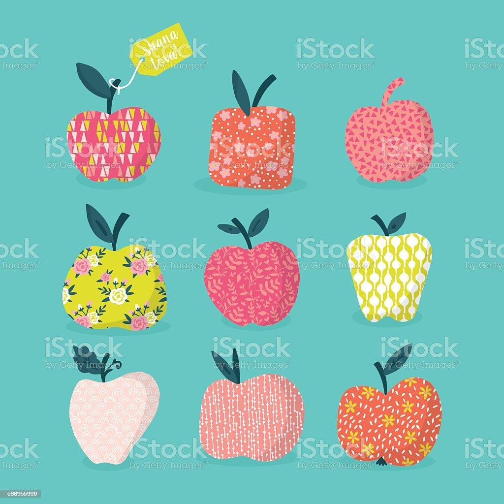 Apples design with pattern for Jewish New Year Rosh Hashana vector art illustration