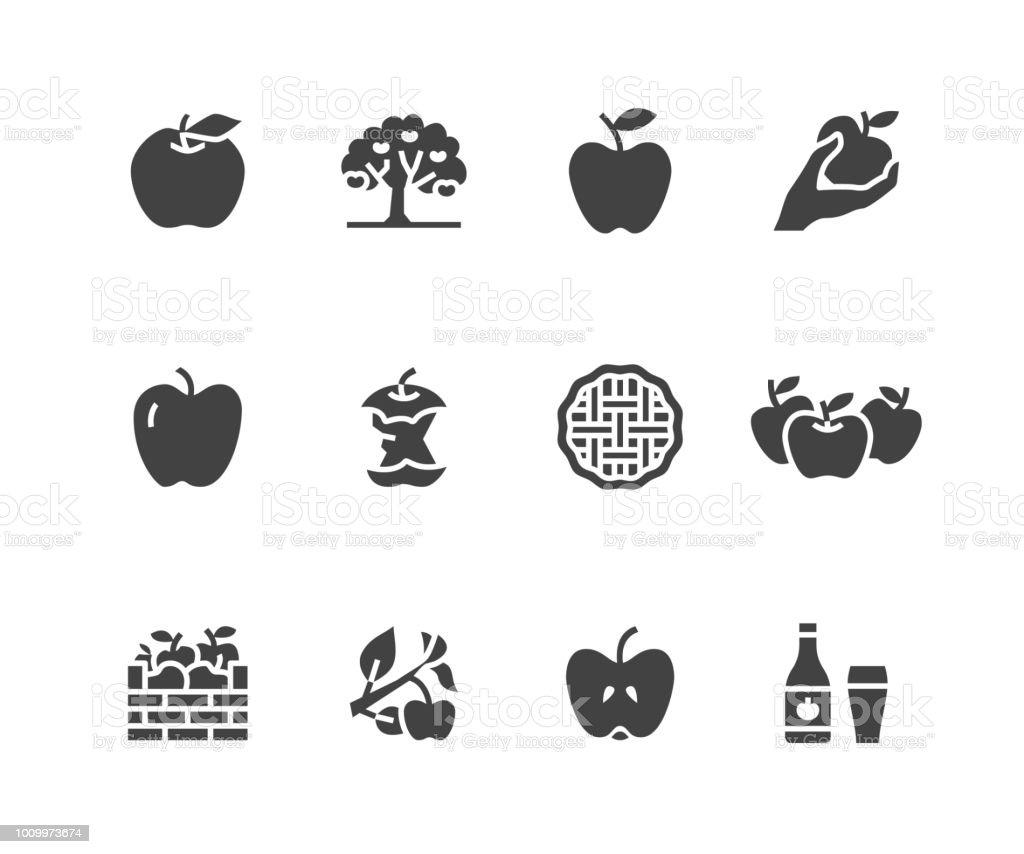 Äpfel-flache Glyph-Symbole. Apfel pflücken, Ernte Herbstfest, Handwerk Obst Apfelwein Illustrationen. Zeichen für Bio-Lebensmittel-Shop. Solide Silhouette Pixel perfekt 48 x 48 – Vektorgrafik