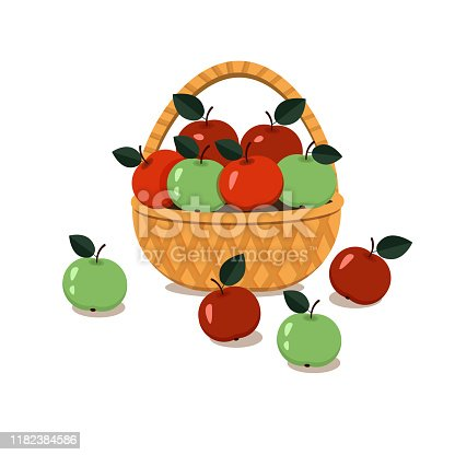Apples green and red in a wicker basket. isolated on white background. Vector graphics