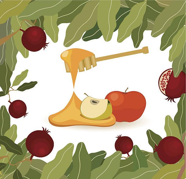 Äpfel mit Honig, Granatäpfel Frame – Vektorgrafik