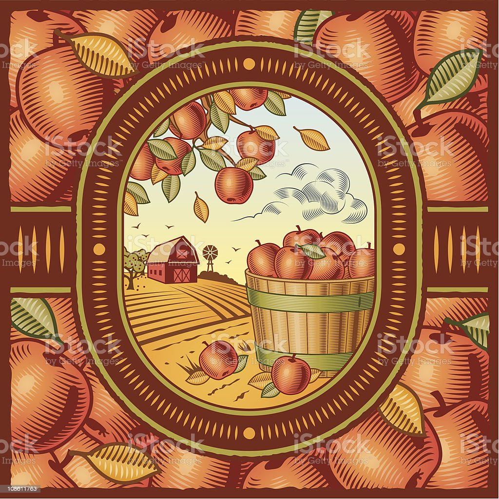 Apples in a barrel near a barn on an apple motif background vector art illustration