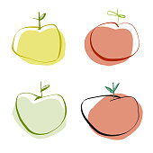 Vector illustration of a collection of colorful apples in a pencil drawing style.