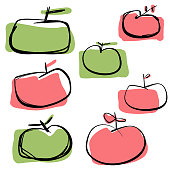 Vector illustration of a collection of ink and pencil drawn apples with flat colors. Isolated design elements great for healthy eating and lifestyles ideas and concepts, as well as for restaurants, groceries shops and coffee shops design projects.
