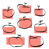 Vector illustration of a collection of apples in a pencil and ink drawing style. Design elements great for lifestyles concepts and ideas, healthy eating, keto and paleo diets, for social media and online messaging and other kinds of design projects in general.