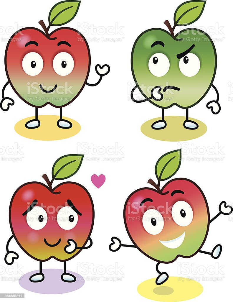 Apples With Attitude vector art illustration