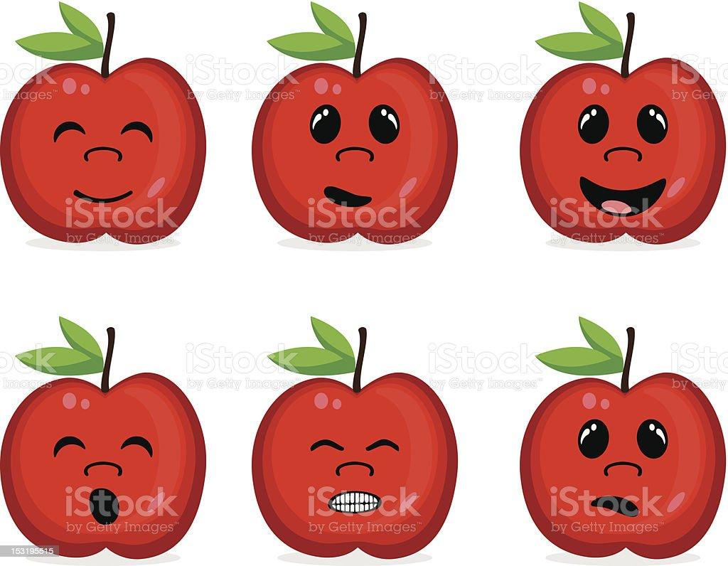 Äpfel Mit Gesicht Ausdrücken Stock Vektor Art und mehr Bilder von ...