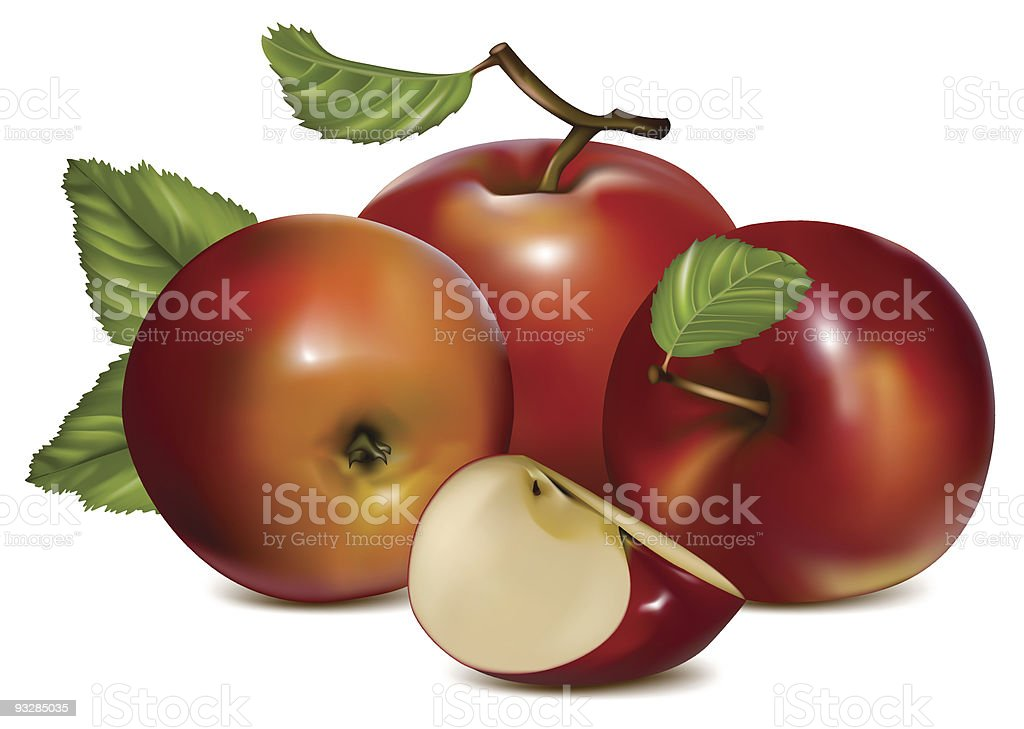 Apples with green leaves. royalty-free stock vector art