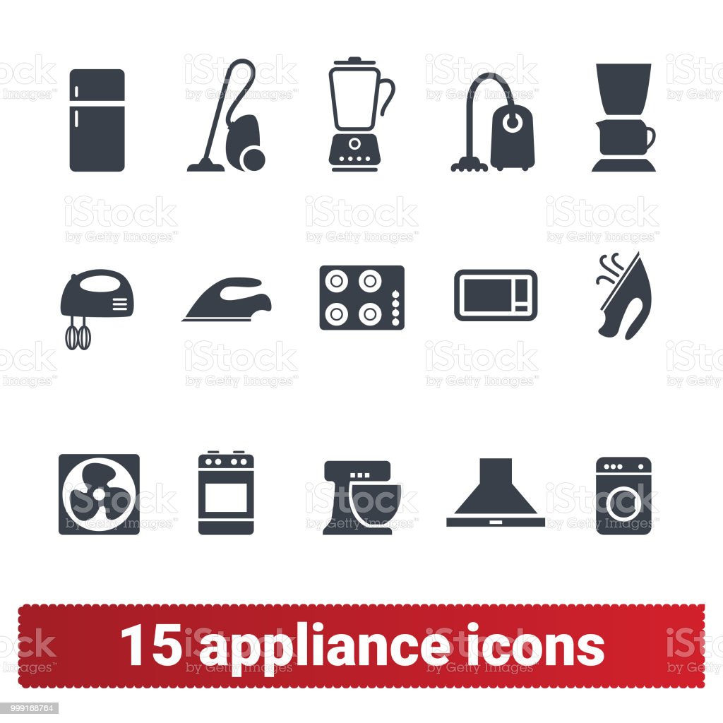 Appliance Icons Home Electronic Devices Symbols Stock Vector Art