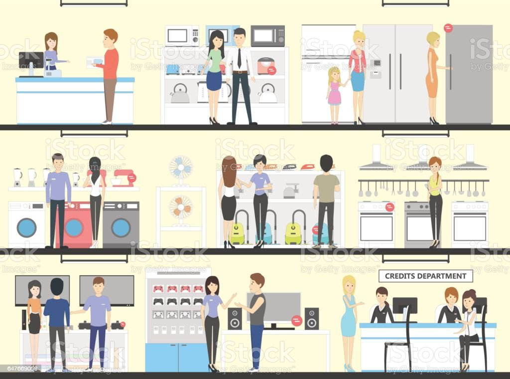Appliance store interior set. vector art illustration