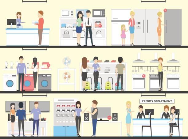 stockillustraties, clipart, cartoons en iconen met toestel winkel interieur set. - warenhuis